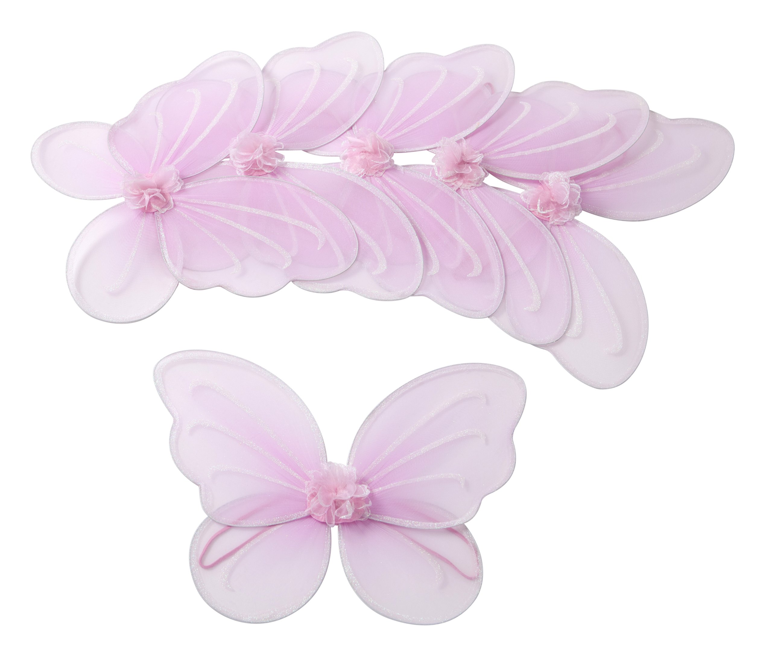 Butterfly Craze Girls' Fairy, Angel or Butterfly Wings – Costumes and Dress Up for Kids Aged 2 to 12 – Pack of 6 (Pink)