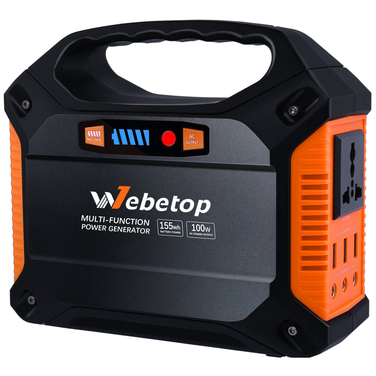 Webetop 155Wh 42000mAh Portable Generator Inverter Battery 100W Camping Emergency Home Use UPS Power Source Charged by Solar Panel/Wall Car with 110V AC Outlet,3 DC 12V,3 USB Port