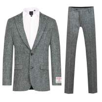 Scottish Harris Tweed Mens Grey Suit Regular Fit 100% Wool Herringbone