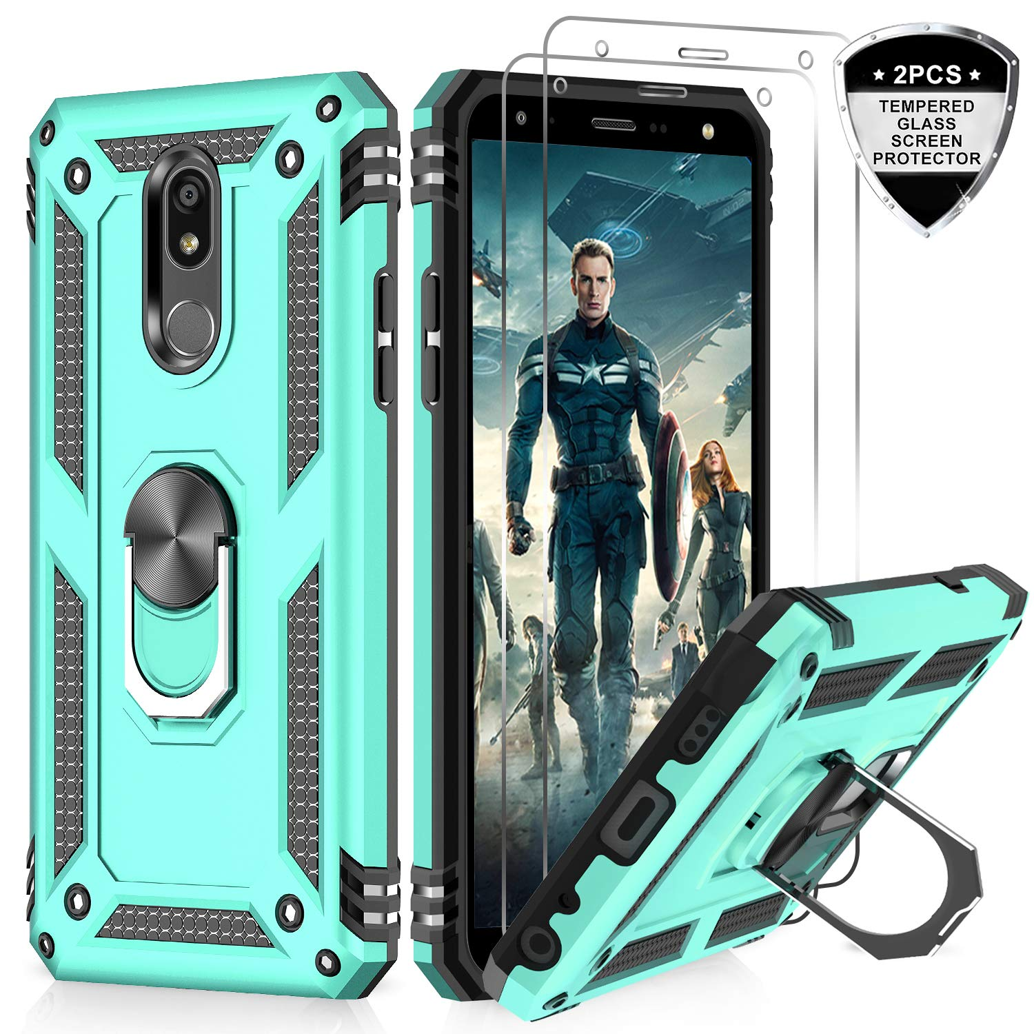 LeYi LG Aristo 4 Plus/K30 2019/Tribute Royal/Escape Plus/Journey LTE/Arena 2 Case with Tempered Glass Screen Protector, [Military Grade] Phone Case with Magnetic Mount Kickstand for LG Prime 2, Mint