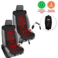 Zento Deals Heated Leather Car Seat Cushion Cover 2 Piece Excellent Quality Adjustable Temperature Seat Cushion, Back Pain Reliever, Perfect for Cold Weather, Winter Driving