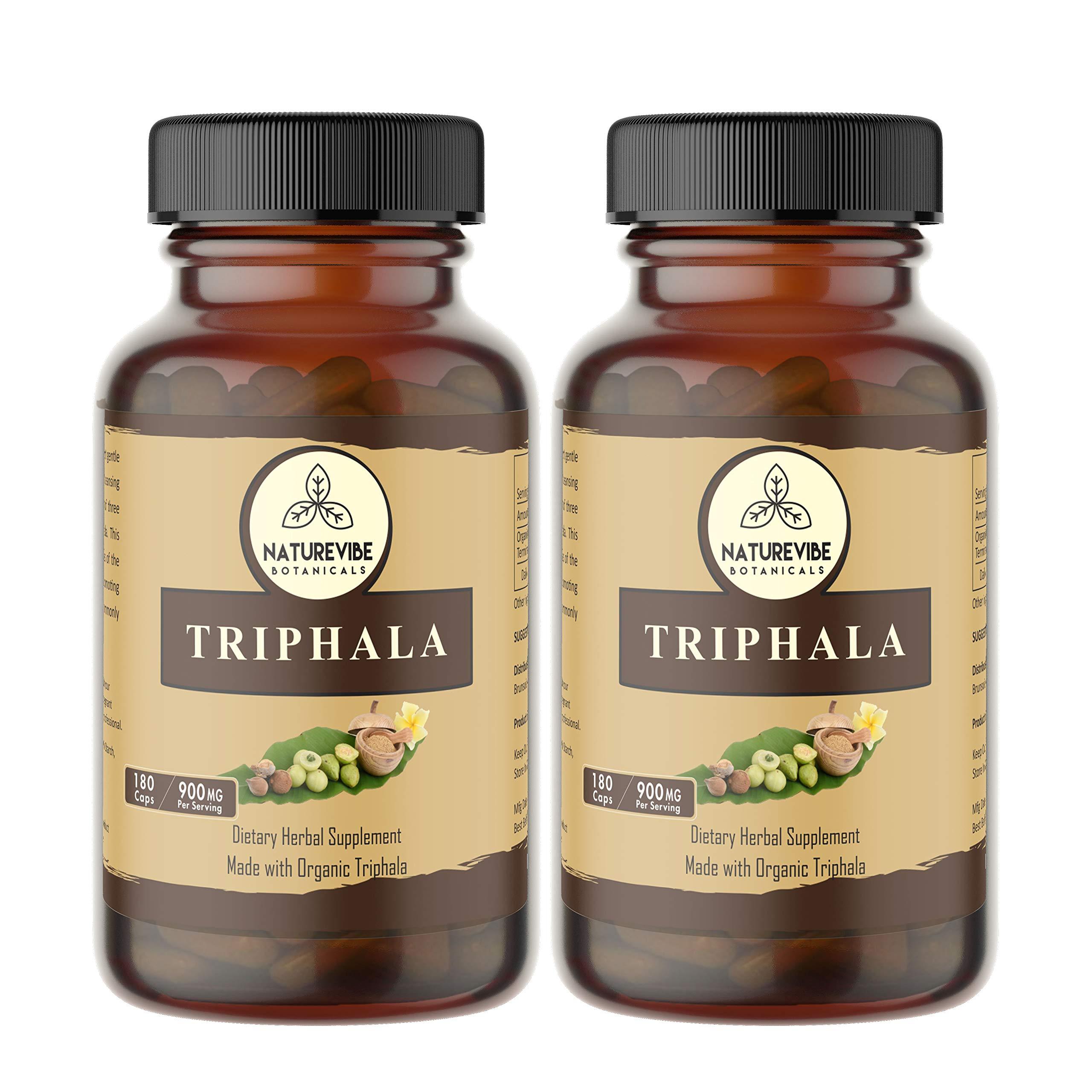 360 Capsules Organic Triphala –100% Organic Triphala Powder, 900mg Per Serving   Veg Capsules (2 Pack of 180 Cap Each)…
