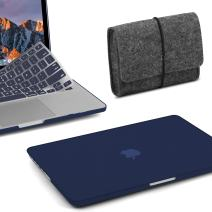 MacBook Pro 13 Case 2019 2018 2017 Release A2159/A1989/A1706/A1708, GMYLE Plastic Hard Shell Cover, Storage Bag Travel Pouch, Keyboard Cover Set Compatible Newest Mac Pro 13 Inch – Navy Blue