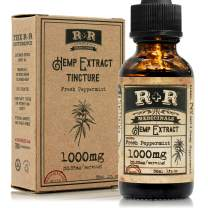 Hemp Oil 1000mg - Made with Organic Extract - for Pain, Stress Relief, Mood Support, Healthy Sleep Patterns, with Organic Hemp Oil Extract (1000mg, 33mg per Serving x 30 Servings) by R+R Medicinals