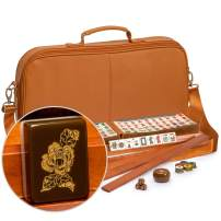 Yellow Mountain Imports American Mahjong Set, Peony with Soft Brown Leatherette Case, Four Wooden All-in-One Racks with Pushers, Wind Indicator, Dice, and Wright Patterson Count Scoring Coins