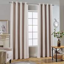 Melodieux 100% Blackout Textured Curtains for Bedroom Living Room - Thermal Insulated Lined Window Drapes, 52 by 63 Inch, Beige (2 Panels)