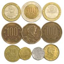 10 Mixed Old Coins from Chile. Collectible Coins from South America Chilean PESOS. Perfect Choice for Your Coin Bank, Coin Holders and Coin Album