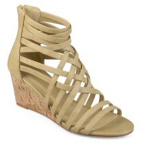 Journee Collection Womens Strappy Faux Leather Wedges