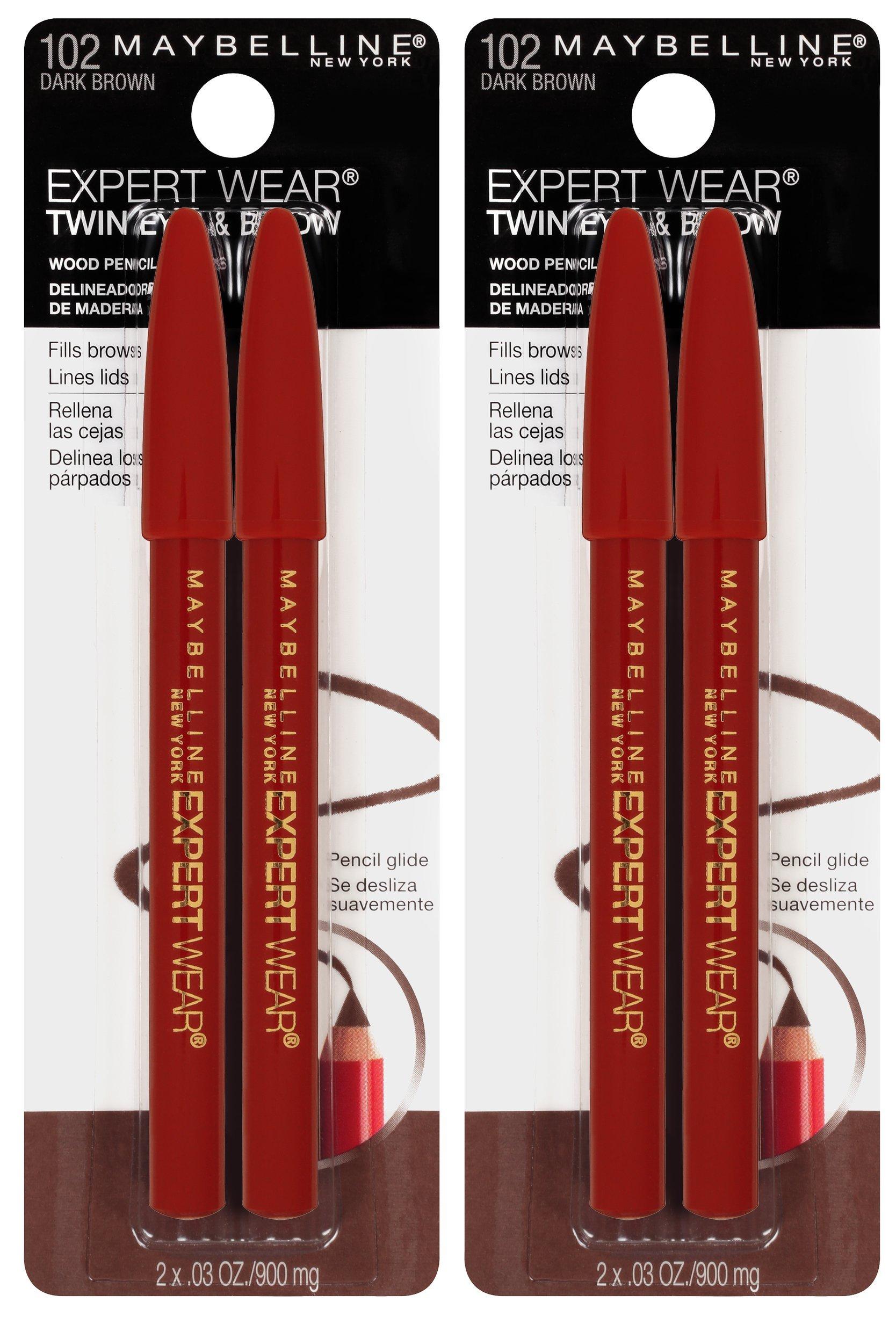 Maybelline New York Expert Wear Twin Brow & Eye Pencils Makeup, Dark Brown, 2 Count (Pack of 2)