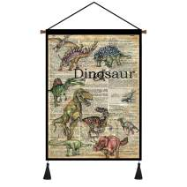 Vintage Papers Home Decor Dinosaur Poster Hanger Kit, Canvas Painting Wall Art for Study room Classroom Teaching and Research Office (18''Wx24''H)