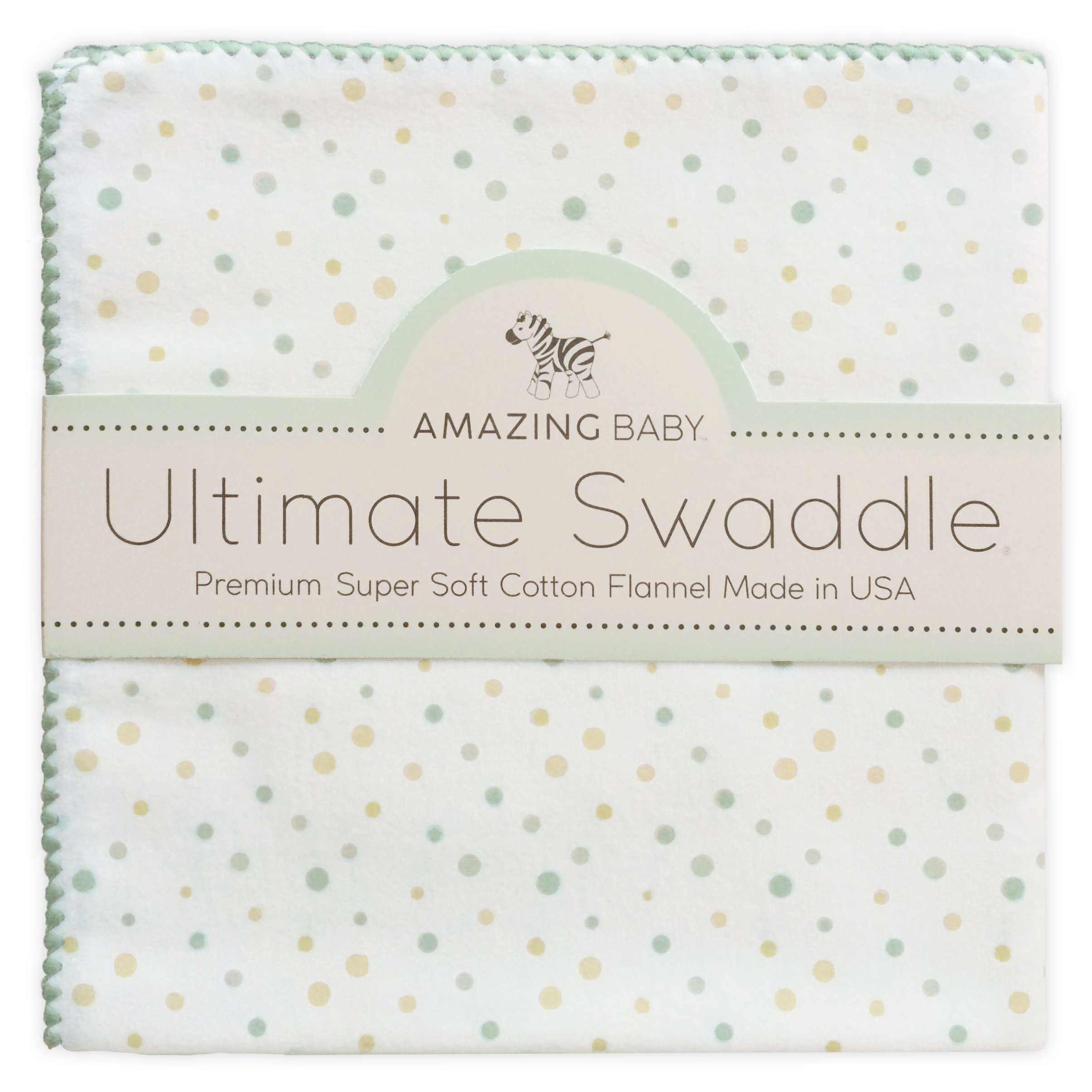 Amazing Baby Ultimate Swaddle, X-Large Receiving Blanket, Made in USA, Premium Cotton Flannel, Playful Dots, Multi SeaCrystal (Mom's Choice Award Winner)