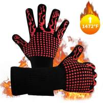 Naturesky BBQ Grill Gloves Welding Gloves- Heat Resistant 1472℉ Food Grade Kitchen Oven Mitts, Silicone Non-Slip Cooking Gloves for Barbecue, Cooking, Baking, Welding, Cutting, 14 Inch Long