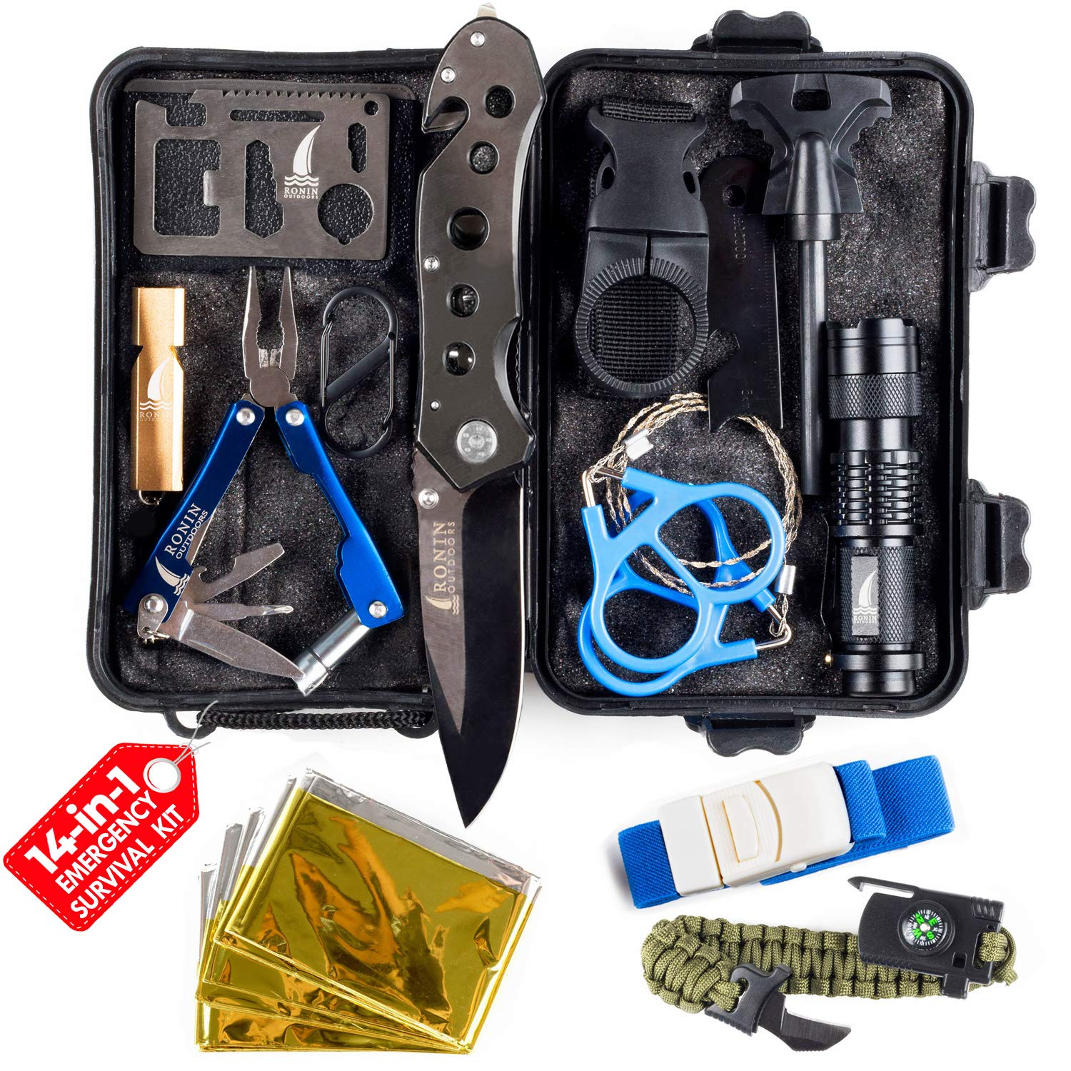 Survival Kit Tactical Camping Gear 14 in 1 Backpack Hiking Outdoor Gifts for Men and Women - Car Emergency EDC Tools - SOS Earthquake Kit Disaster Preparedness