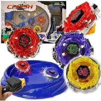 Crush Blades Metal Fusion Starter Set | 4 Tops, 2 Launchers, 4 Tips, 2 Bolts, 2 Fitting Keys, 1 Grip, 1 Arena
