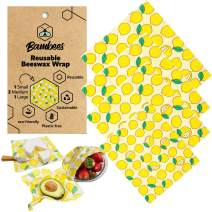 Reusable Beeswax Wraps – Pack of 4   Eco-Friendly, Organic, Sustainable, Beeswax Food Wraps   Dye and Synthetic Free Wrap   100% Zero-Waste Washable Biodegradable Wraps   3 Sizes (S, M, L)