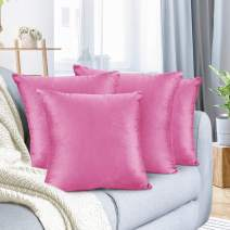 "Nestl Bedding Throw Pillow Cover 16"" x 16"" Soft Square Decorative Throw Pillow Covers Cozy Velvet Cushion Case for Sofa Couch Bedroom, Set of 4, Light Pink"