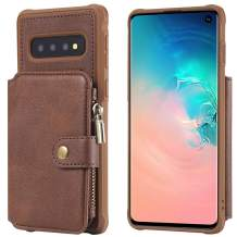 Kudex Galaxy S10 Wallet Case,Heavy Duty Protective Flip Folio Leather Card Holder/Money Pocket Kickstand Feature Zipper Magnetic Closure Women Purse Wallet Case Cover for Samsung Galaxy S 10 (Coffee)