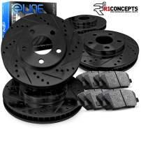 For 2005-2010 Honda Odyssey Front Rear Black D/S Brake Rotors Kit + Semi-Met Pads