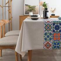 LEEVAN Vinyl Tablecloth Heavy Weight PVC Rectangle Table Cover 100% Waterproof Oil-Proof Stain-Resistant Table Cloth for Indoor and Outdoor Use -54 x 108 Inch,National Pattern