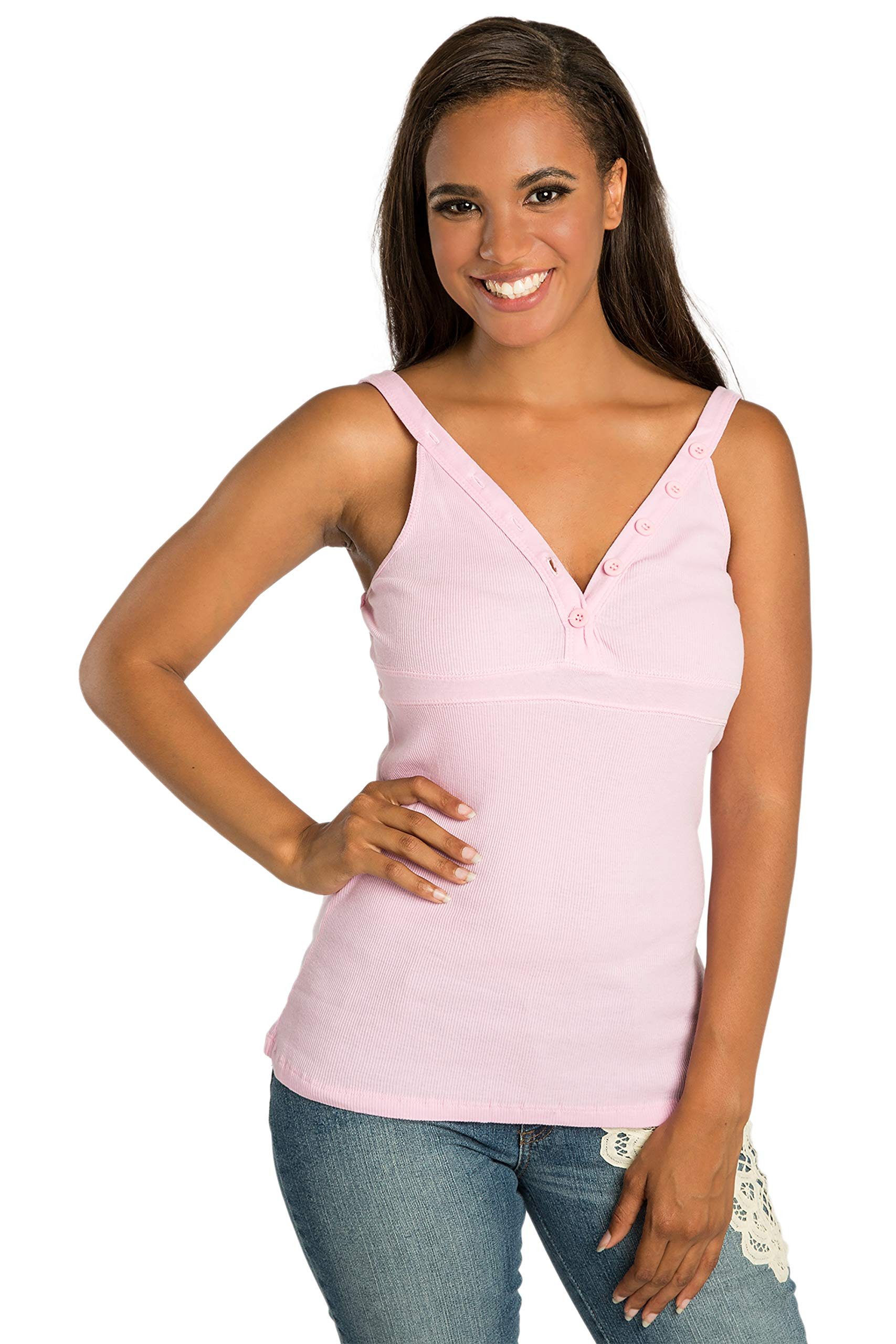 Sweet Vibes Junior Women Stretch Rib Tank Tops Pink V-Plunge Neck Button Placket