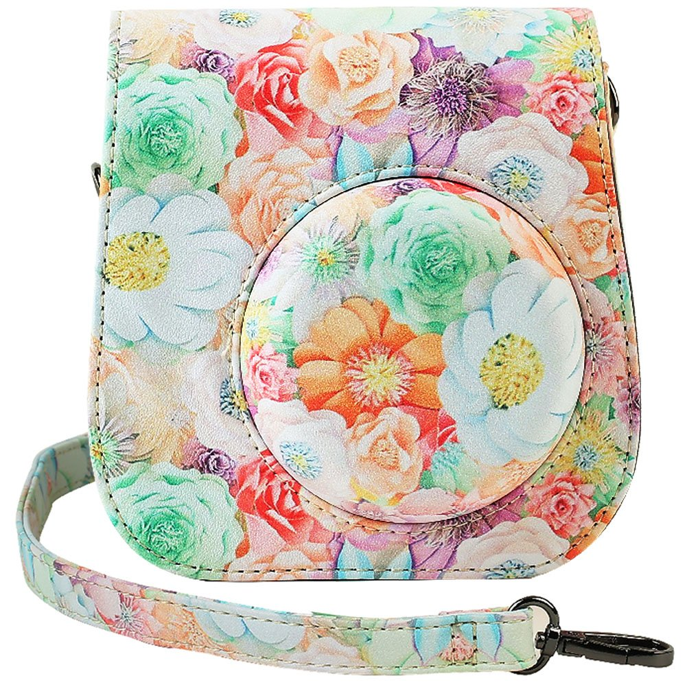 Katia Camera Case Bag Compatible for Fujifilm Instax Mini 11/9/ 8+/ 8 Instant Film Camera with Shoulder Strap and Photo Accessories Pocket - 3D Flower
