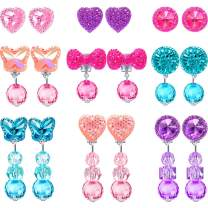 Hicarer 9 Pairs Girls Clip-on Earrings Pretend Princess Play Earrings Jewelry Set (Style 2)