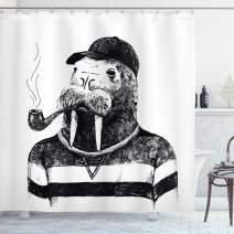 """Ambesonne Indie Shower Curtain, Hand Drawn Dressed up Walrus Animal Long Teeth Smoking Pipe Antromorphic Sketch Art, Cloth Fabric Bathroom Decor Set with Hooks, 70"""" Long, Black White"""