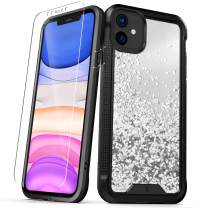 ZIZO ION Series for iPhone 11 Case - Military Grade Drop Tested with Tempered Glass Screen Protector - Silver Liquid Glitter