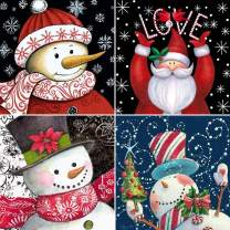 4 Pack 5D Full Drill Christmas Diamond Painting Kits, UNIME DIY Diamond Rhinestone Painting Kits for Adults and Beginner Diamond Arts Craft, 9.8 X 9.8 Inch (Christmas Snowman Diamond Paintings)