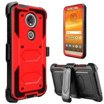 Moto E5 Plus Case, Moto E5 Supra Case, lovpec [Holster Series] Full Body Heavy Duty Shockproof Protective Case Cover with Kickstand and Belt Swivel Clip for Motorola Moto E Plus (5th Gen) (Red)