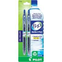 Pilot Bottle-2-Pen (B2P) - Retractable Premium Gel Roller Pens Made from Recycled Bottles (2 Count) Fine Point Blue G2 Gel Ink, Refillable, Comfortable Grip (31606)