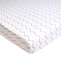 TL Care Printed 100% Natural Cotton Value Jersey Knit Fitted Portable/Mini-Crib Sheet, Pink Zigzag, Soft Breathable, for Girls