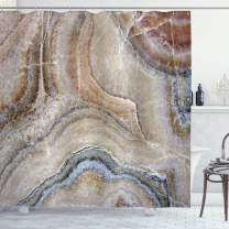 "Ambesonne Marble Shower Curtain, Surreal Onyx Stone Surface Pattern Pale Blue Details Picture, Cloth Fabric Bathroom Decor Set with Hooks, 84"" Long Extra, Cinnamon Grey"