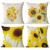 Set Of 4 Sunflower Flower Decorative Throw Pillow Covers 12x12 Inch Plant Pillow Covers Cotton Line Square Pillow Cases Summer Flower Outdoor Sofa Couch Home Bed Decor Cushion Covers (12 by 12)