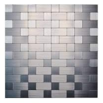 KASARO Backsplash Peel and Stick Mosaic Tile Aluminum Stainless Steel Self Adhesive Tile for Kitchen Wall Bathroom (1, Long+Short)