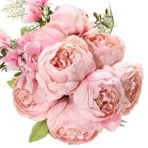 Uworld Artificial Flowers Silk Plastic Fake Peony Flower Vintage Peonies Bouquet DIY Wreath for Home Wedding Centerpieces Décor (Peach Pink)