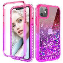 Maxdara Compatible iPhone 11 Case with Built in Screen Protector Glitter Liquid Sparkle Bling Diamond Full Body Case Rugged Shockproof Protective Case for iPhone 11 6.1 inches(Pink Purple)