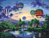 """Paint by Numbers DIY Acrylic Painting Kit for Kids & Adults 16"""" x 20"""" Dream Ballon Pattern with 3 Brushes & Bright Colors"""