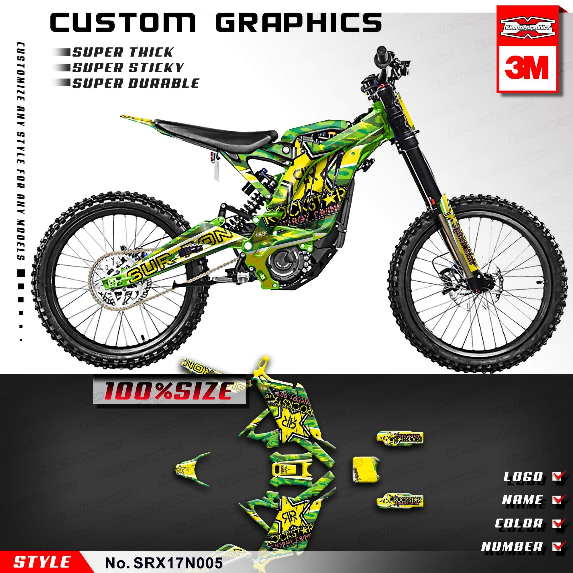 Kungfu Graphics Custom Decal Kit for Sur-Ron Light Bee X Electric Off-road Motorcycle Dirt Bike, Green Yellow, SRX17N005