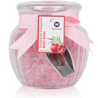 Organic Relaxation Bath Salts by Eve Hansen in Pomegranate and Grapefruit Scent. Pink Salts Make a Great Gift. Skin Detoxifying and Relaxing Sea Bath. Bath Salts Natural Aromatherapy Essential Oils.