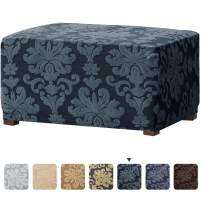 CHUN YI Elegant Jacquard Universal Ottoman Cover,Easy Fitted Oversized Storage Stool Ottoman Covers Slipcovers,High Elasticity Furniture Protector for Living Room (Grayish Green)