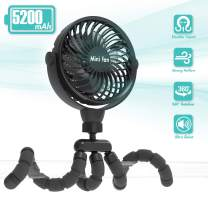 Versatile Fan, 5200mAh Battery Powered Clip-on Personal Desk Fan with Flexible Tripod, Ultra Quiet 360°Adjustable USB Fan for Baby Stroller/Car Seat/Treadmill/Wheelchair/Camping