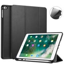 Fintie Case with Built-in Pencil Holder for iPad 9.7 2018 2017 / iPad Air 2 / iPad Air - [SlimShell] Lightweight Soft TPU Back Protective Cover w/Auto Wake Sleep, Black