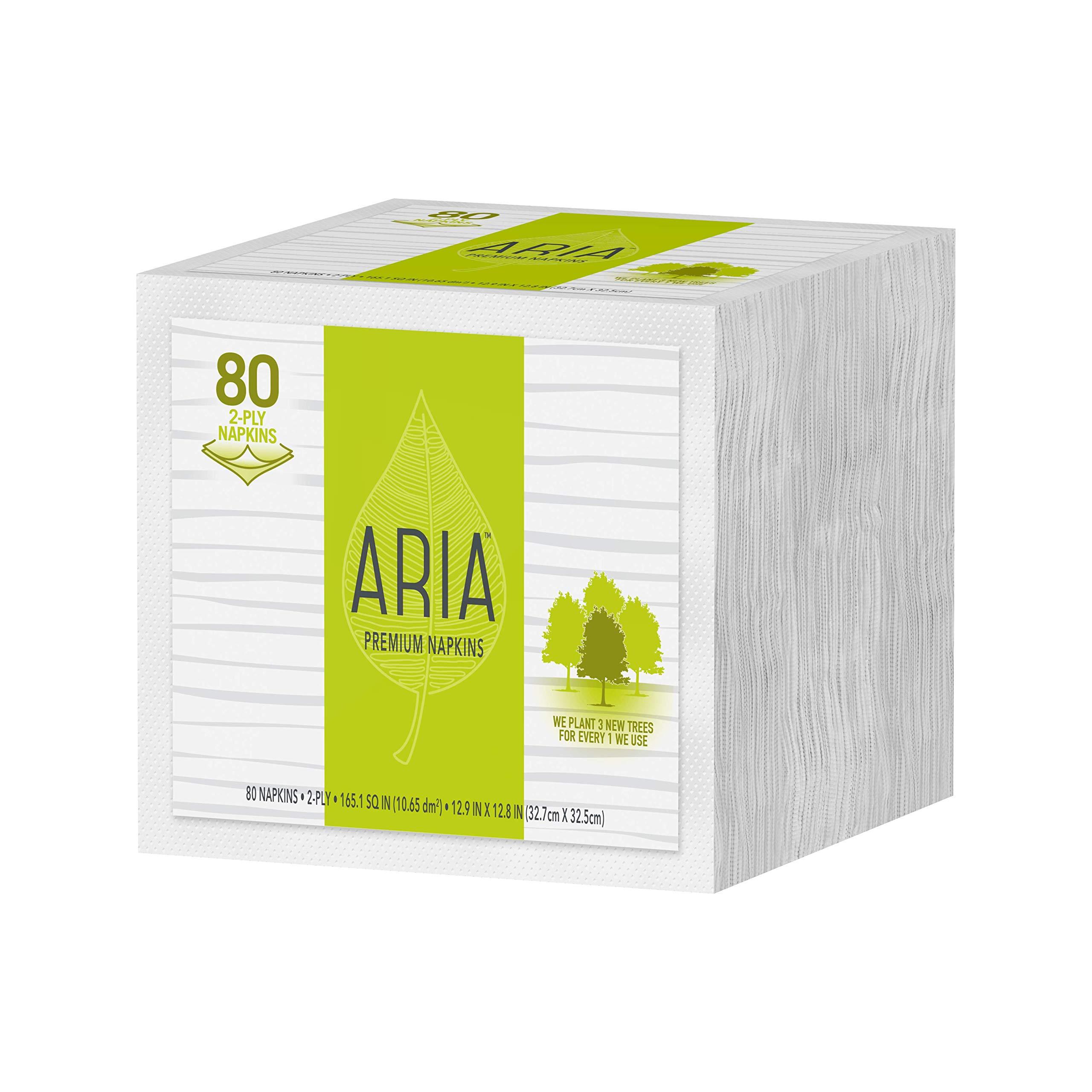 Aria Premium Earth Friendly Napkins, 80-Count 2-Ply Napkins, White, Paper, Eco Friendly Napkins