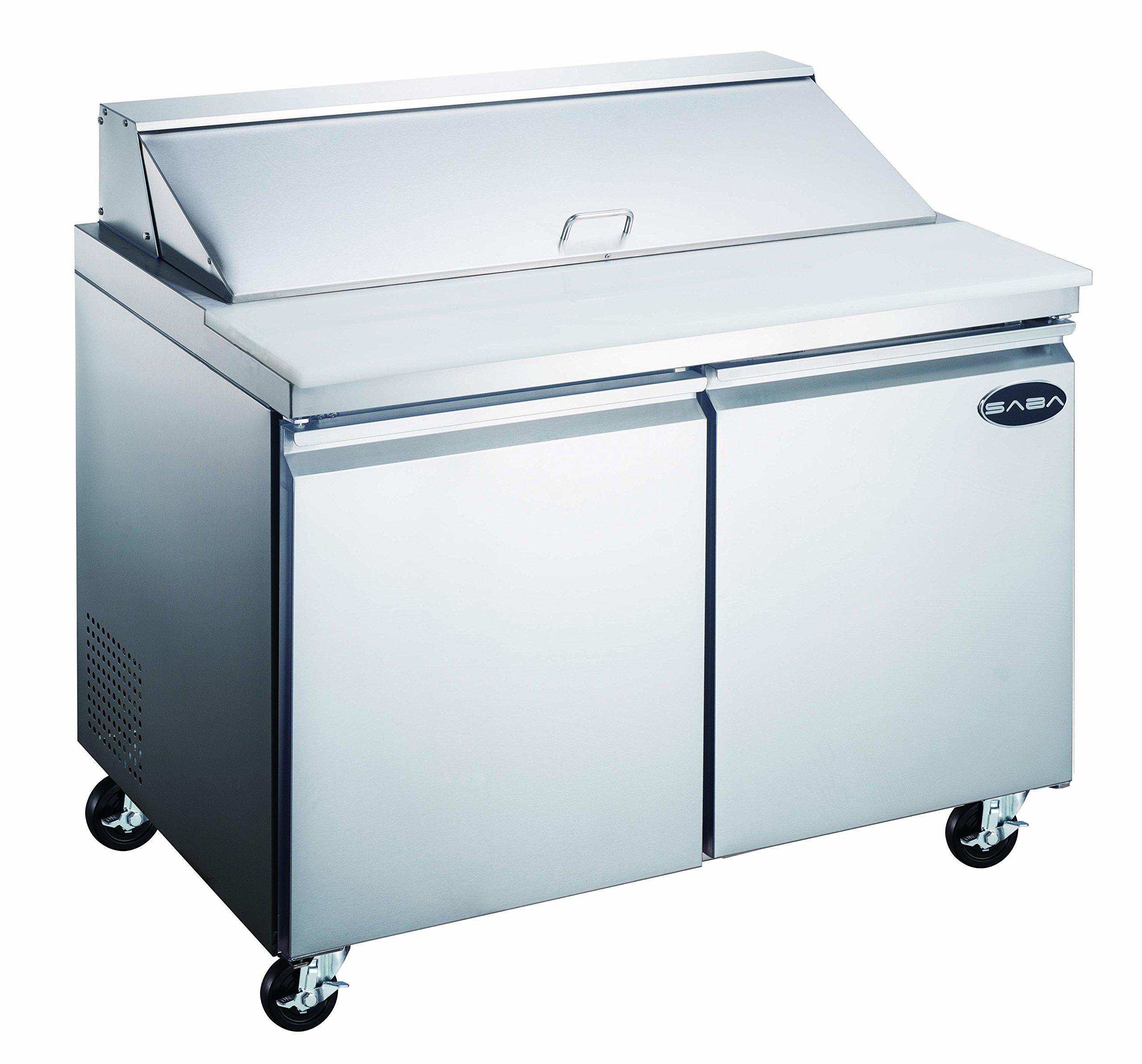 "Heavy Duty Commercial Sandwich Salad Prep Table Refrigerator Cooler 2 Door 48"""