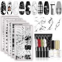 BORN PRETTY Nail Stamping Gel Nail Stamping Templates Black UV Gel and Peel Off Liquid Tape Nail Art Stamping Kit Manicure Tool