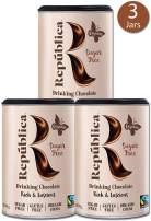 República Organic Sugar Free Drinking Chocolate, Certified Organic, Gluten Free, Fair Trade, 3 Pack, 250g/8.8oz canister
