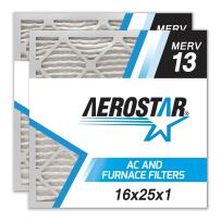 Aerostar 16x25x1 MERV 13, MAX Allergen Protection Air Filter for a Healthy Home, 16x25x1, Box of 4, Made in The USA