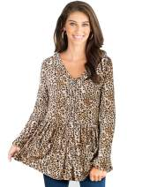 LANISEN Womens Leopard Print Babydoll Peplum Tops Long Sleeve V Neck Button Down Loose Blouses T Shirts with Pockets