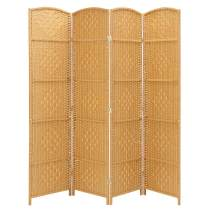 "Rose Home Fashion RHF 6 ft.Tall-15.7"" Wide Diamond Weave Fiber 4 Panels Room Divider/4 Panels Screen Folding Privacy Partition Wall Room Divider Freestanding 4 Panel Light Beige"